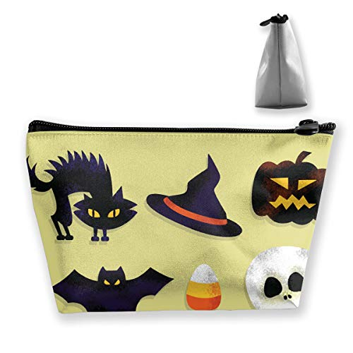 FJSLIE Cartoon Scary Halloween Women Cosmetic Bags Multi Function Toiletry Organizer Bags,Hand Portable Pouch Travel Wash Storage Capacity with Zipper(Trapezoidal) -