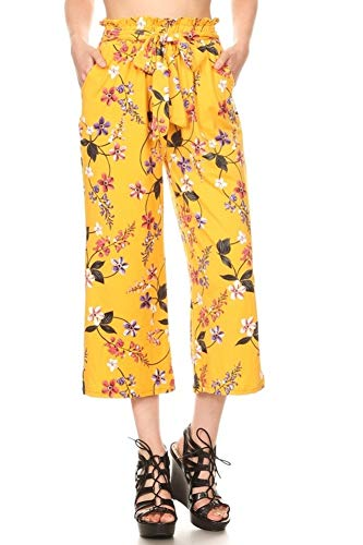 ShoSho Womens Paper Bag Waist Cropped Pants Casual Wide Leg with Pockets Floral Print Yellow/Pink Large