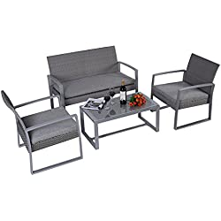 Giantex 4pc Patio Furniture Set Cushioned Outdoor Wicker Rattan Garden Lawn Sofa Seat (Dark Gray)