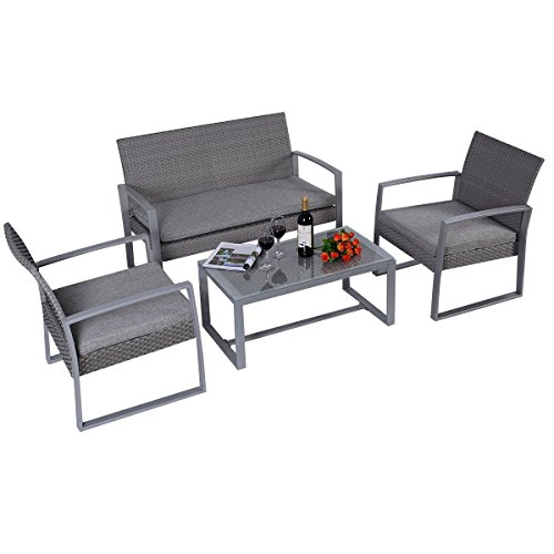 Giantex 4pc Patio Furniture Set Cushioned Outdoor Wicker Rattan Garden Lawn Sofa Seat (Dark Gray) Porch Patio Place Furniture Outdoor