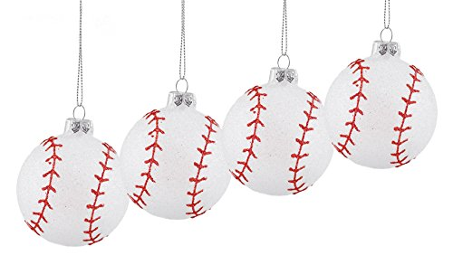 Baseball Sports Hanging Christmas Ornaments - 4 Pack Baseball Christmas Ornaments