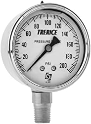 """Trerice D82LFB4002LA130 Industrial Gauge, 4"""" dial, 0 to 200 psi, 1/4"""" NPT Brass Connection, Lower Mo"""