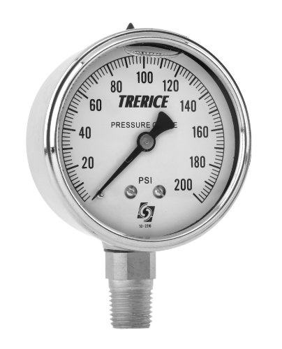 Trerice D83SS2502BA030 Industrial Gauge, 2.5' dial, 30' Hg to 30 psi, 1/4' NPT Stainless Steel Connection, Back Mount 2.5 dial 30 Hg to 30 psi 1/4 NPT Stainless Steel Connection