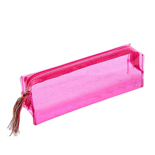 (Outsta Colorful Laser Transparent Makeup Pouch,Women Pencil Case Cosmetic Bag Portable Toiletry Travel Basic Casual (Pink))