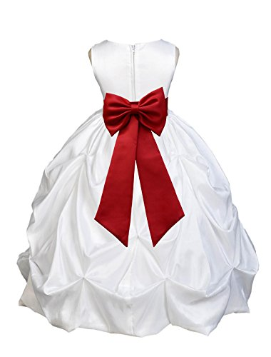 Wedding Pageant White Bubble Pick-up Kid Flower Girl Dress with Tiebow 301T 6