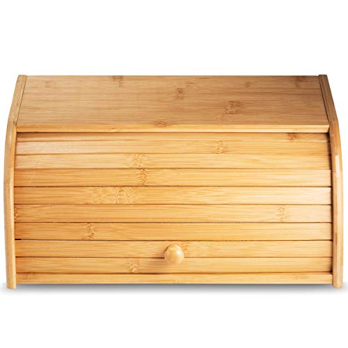 Klee Bamboo Bread Box for Kitchen Counter - Rolltop Breadbox - Large Capacity Bread Box - Countertop Bread Storage - Large Bread Keeper - Countertop Bread Display - 100% Bamboo Storage Bin