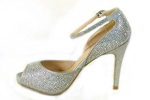 pour 8028 SKO'S Sandales 1 Silver femme SSAnB