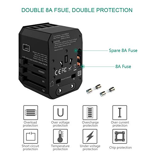 Universal Travel Adapter Foxnovo All In One Worldwide Ac