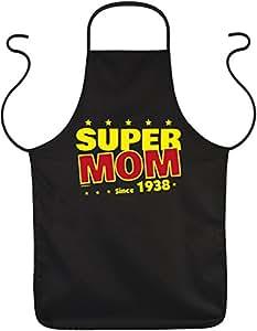 Delantal con diseño divertido cumpleaños: Super Mom Since 1938–Delantal–Cocina–Hornear–Talla única–Negro