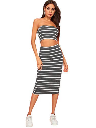 (SheIn Women's 2 Pieces Striped Crop Bandeau Top and Split Skirt Cotton Set Grey)