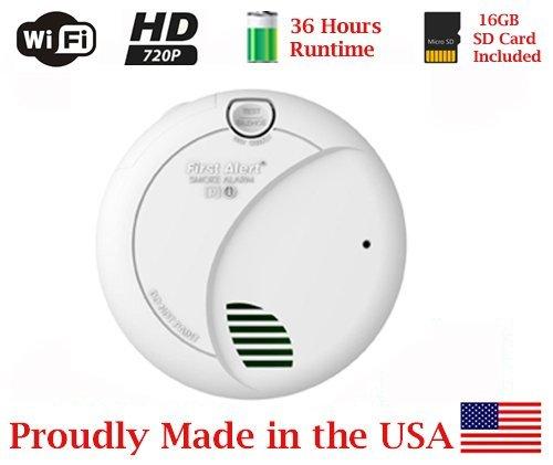 SecureGuard 36 hrs Battery Powered Smoke Detector 1080P WiFi Spy Camera