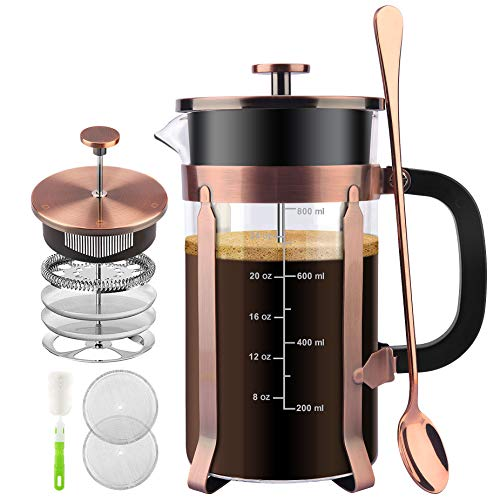 STARNUO French Press Coffee Maker,34 Ounce,1.0 Liter,18/10 Stainless Steel,Heat Resistant Borosilicate Glass,with 4 Level Filtration System