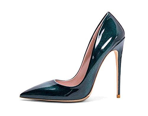 Guoar Femmes Bout Pointu Chaussures À Talons Hauts Chaussures Pour Les Chaussures De Banquet De Fête Taille 5-12 Nous Vert Métal Brillant