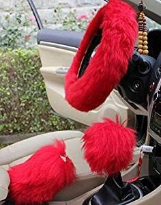 Cheetah Dash Cover - Yontree Winter Warm Faux Wool Handbrake Cover Gear Shift Cover Steering Wheel Cover 14.96