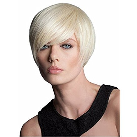 (SmartFactory Fashion Natural Silver White Short Bob Human Wig WithTilted Frisette for Women)