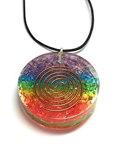 Opulence Circular 7 Chakras Pendant with Fabric Necklace Meditation (Necklace Jasper Fabric)