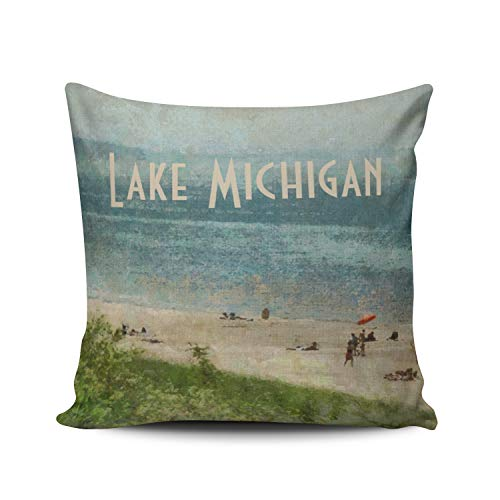 - WEINIYA Bedroom Custom Decor Retro Lake Michigan Shoreline Beach Pillow Cover Case Elegant Design Double Sides Printed Patterning Square 16x16 Inches