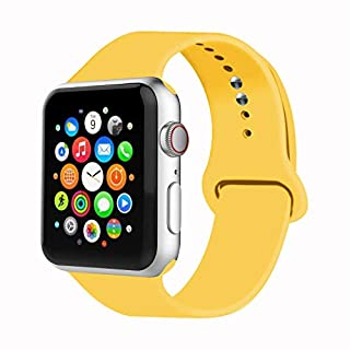 IYOU Sport Band Compatible with Watch Band 38MM 42MM 40MM 44MM, Soft Silicone Replacement Sport Strap Compatible with 2018 Watch Series 5/4/3/2/1(Yellow,38MM, S/M)