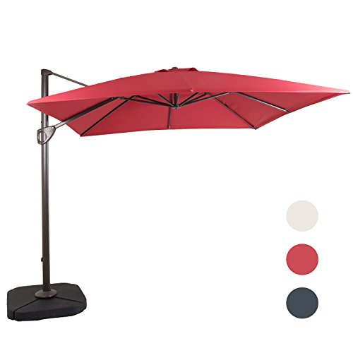 DOMI OUTDOOR LIVING 10 by 10-Feet Square Cantilever Umbrella Outdooor Patio Tilt & Crank Umbrella with Cross Base,Red For Sale