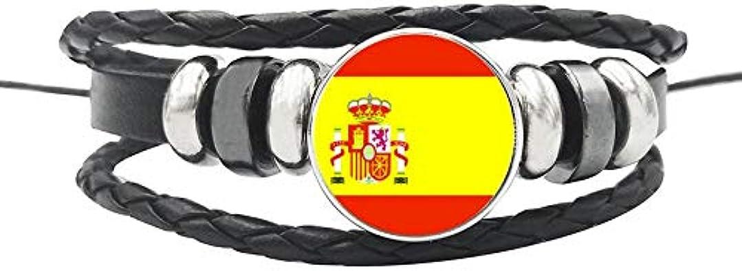 España Grecia España España España España Uk Estonia Irlanda Pulseras De Cuerda De Cuero Vidrio Botón Nación Bandera Ajustable Brazalete Hombres Mujeres