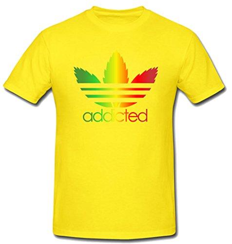 Tee-Rex Addicted Mens Fashion T-Shirt (XX-Large, Yellow) ()