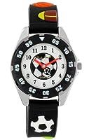Pacific Time Kinder-Armbanduhr Fußball Sport Analog Quarz schwarz 21559