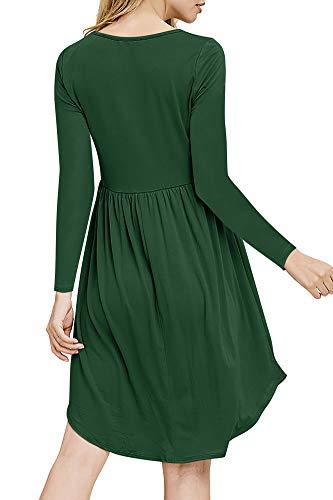 Des Femmes De Balançoire Occasionnel Boutons Robe Tunique À Manches Longues Col Rond Taille Haute Plissée Ourlet Irrégulier Vert Foncé