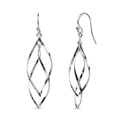 Drop Silver Sterling Italian Long (LeCalla Sterling Silver Jewelry Italian Drop Dangler Light Weight Everyday Wear Earring for Women)