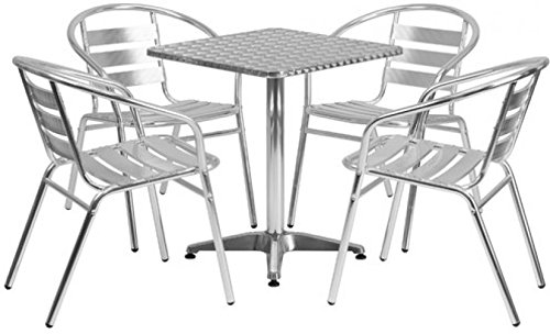 Eucalyptus 12 Slat (27.5'' Square Aluminum Indoor-Outdoor Table With 4 Slat Back Bonus free ebook By Allgoodsdelight365)