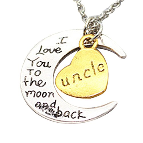 Gbell Kids Silver Moon Heart Necklace - ' I Love You To The Moon' Engraved Necklace Charm for Boys Girls Men Women Gifts - Son Mom Aunt Sister Daughter Dad Brother Grandma Necklaces Jewelry (Uncle) for $<!--$0.69-->