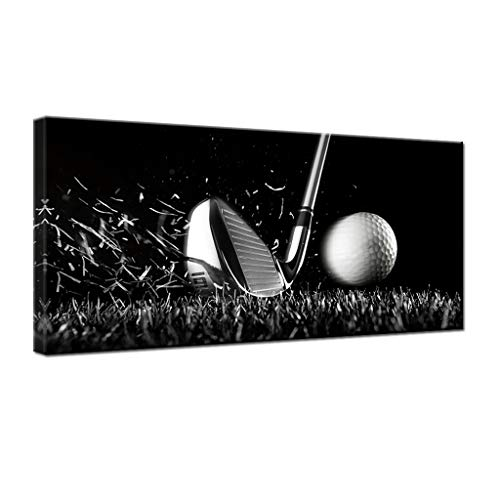 gold mi Black and White Golf Course Poster Wall Art Sport Canvas Painting Large Home Decorations Picture for Gym Living Room Wall Decor Framed(20x40inch) -