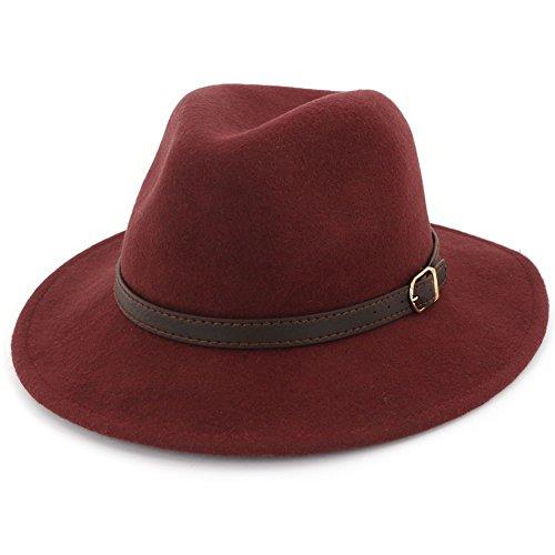 Red Hat Brim Wool Large (Lisianthus Women's 100% Wool Fedora Panama Hat Wide Brim with Belt Dark Red)