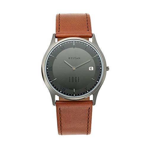 Titan Edge Anthracite Dial Analog Watch with Date Function for Unisex