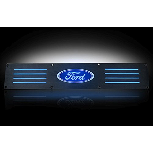 Ford 09-14 F150 & 09-14 SVT RAPTOR Billet Aluminum Door Sill / Kick Plate (2pc Kit Fits Rear Doors Only) in Black Finish - Ford Logo in BLUE (Billet Sill Plates)