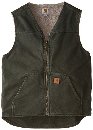 Carhartt Men's Big & Tall Sherpa Lined Sandstone Rugged Vest V26,Moss,X-Large Tall by Carhartt