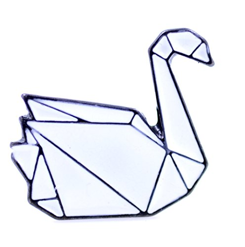 Lizzyoftheflowers - Enamel paper folding origami swan pin / (Origami Swan)