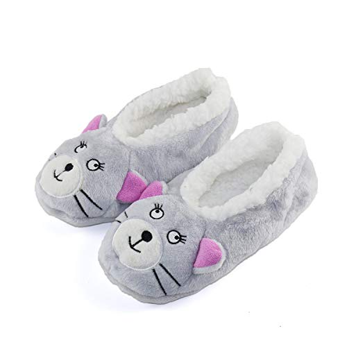 Womens Warm Cozy and Lovely Animal Non-Skid Knit Home Floor Slippers Socks for Adults Girls