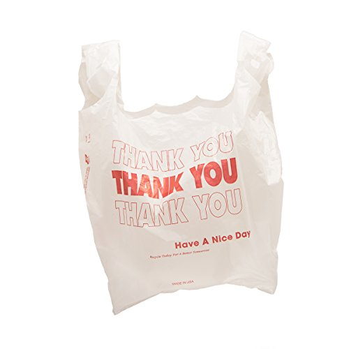 ''Thank You'' Carryout Plastic Bags - White with Red Print - 500 ct. by Durabag Co. Inc