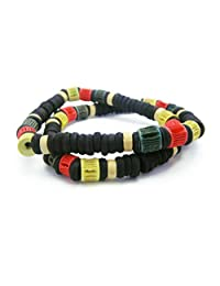 APECTO 8mm Black Wood Beads Multi Color Bracelet Link Wrist Elastic Necklace, NMN1