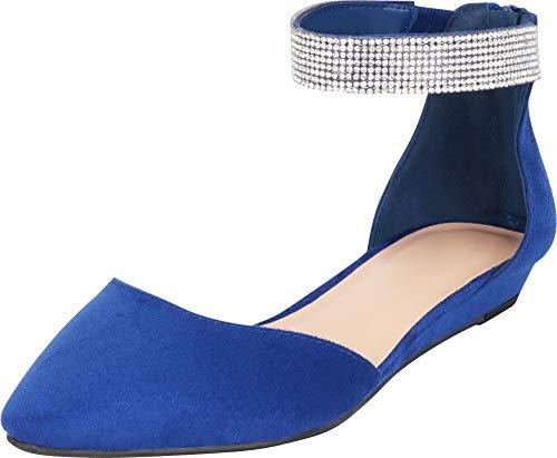 Cambridge Select Women's Pointed Toe D'Orsay Crystal Rhinestone Ankle Strap Low Wedge Ballet Flat,7.5 B(M) US,Cobalt IMSU