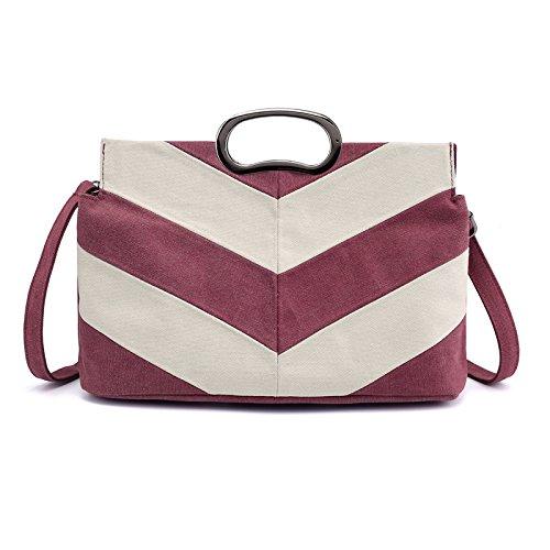 Bolso de de Mujer color para BISSER Purple Rayas con Negro diseño Lona Girl 5x8wA