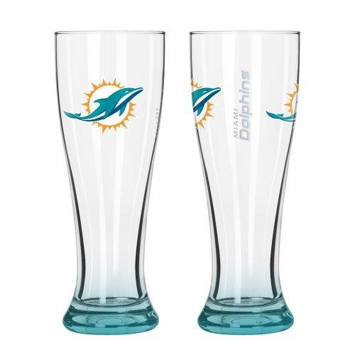 Pint Pilsner Glass (NFL Football Elite Series Pilsner Glasses - 16 ounce Hourglass Pints, Set of 2)