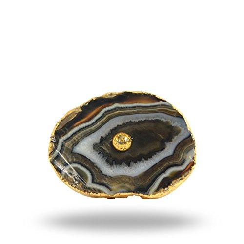 Barbarella Agate Knob with Brass Hardware Brown Kitchen Cabinet Cupboard Door Knobs Dressser Wardrobe and Drawer Pull By Trinca-Ferro