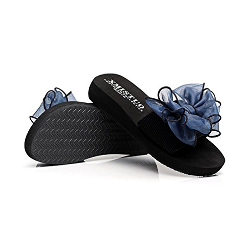 Tongs Blue dérapant Fleurs Papillon Summer Sandales Plage Pantoufle Lady GSHGA Anti wq0vfn