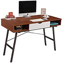"DlandHome 47"" Home Office Desk with 1 Drawer & 2 Cubes, Composite Wood Board, Computer Desk/Workstation/Dressing Table, Teak"
