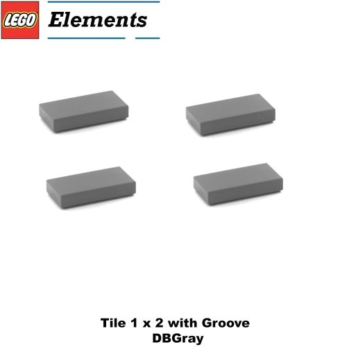 Lego Parts: Tile 1 x 2 with Groove (PACK of 4 - DBGray) (Hotel 21017 Imperial)