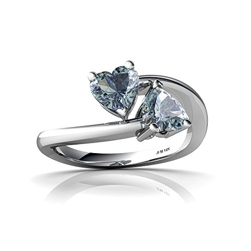 14kt White Gold Aquamarine 5mm Heart Bypass Ring - Size 5