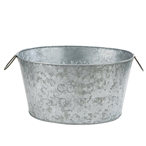 - Mind Reader Ice Bucket Beverage Chiller Tub, Heavy Duty Oval Galvanized Iron, Silver