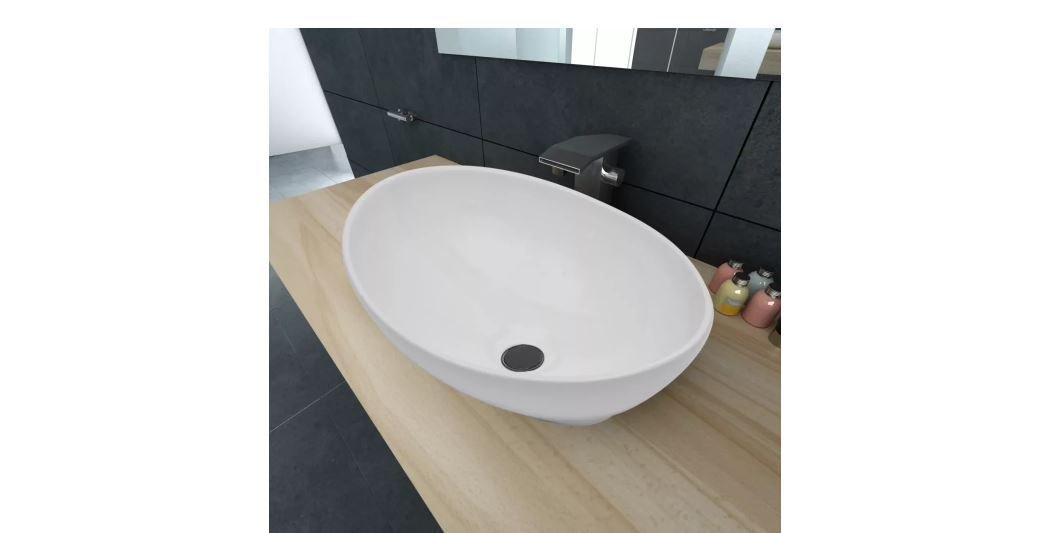 Luxury Ceramic Basin Oval Shaped White New Durable 16.1Inches x 13.4 Inches K&A Company