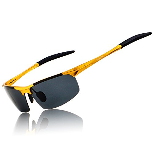 Ronsou Men Sport Al-Mg Polarized Sunglasses Unbreakable For Driving Cycling Fishing Golf gold frame/gray lens
